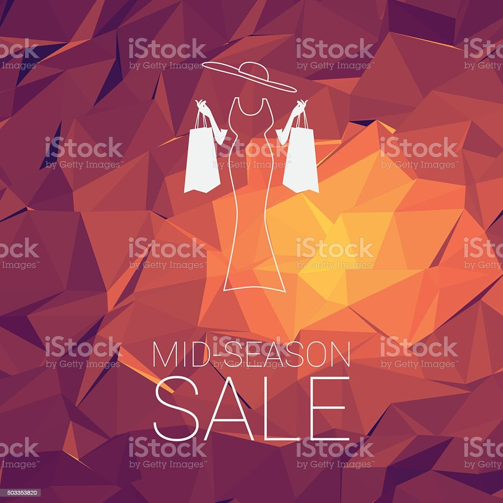 Sales banner mid season template with woman shopping fashion, space vector art illustration