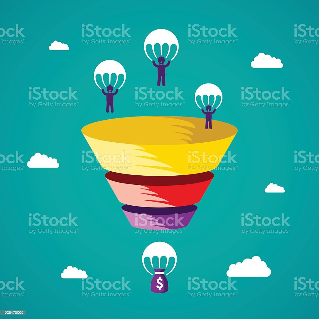 Sales funnel vector concept in flat style vector art illustration