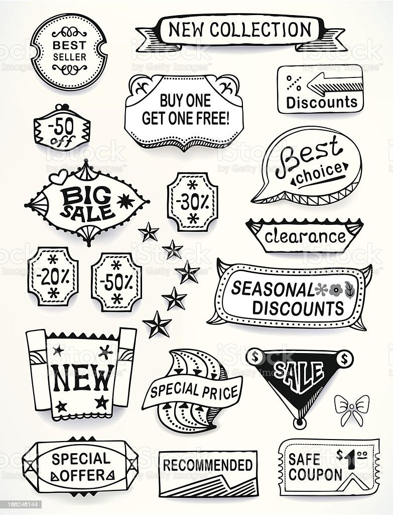 Sales messages set of promotional english text labels royalty-free stock vector art
