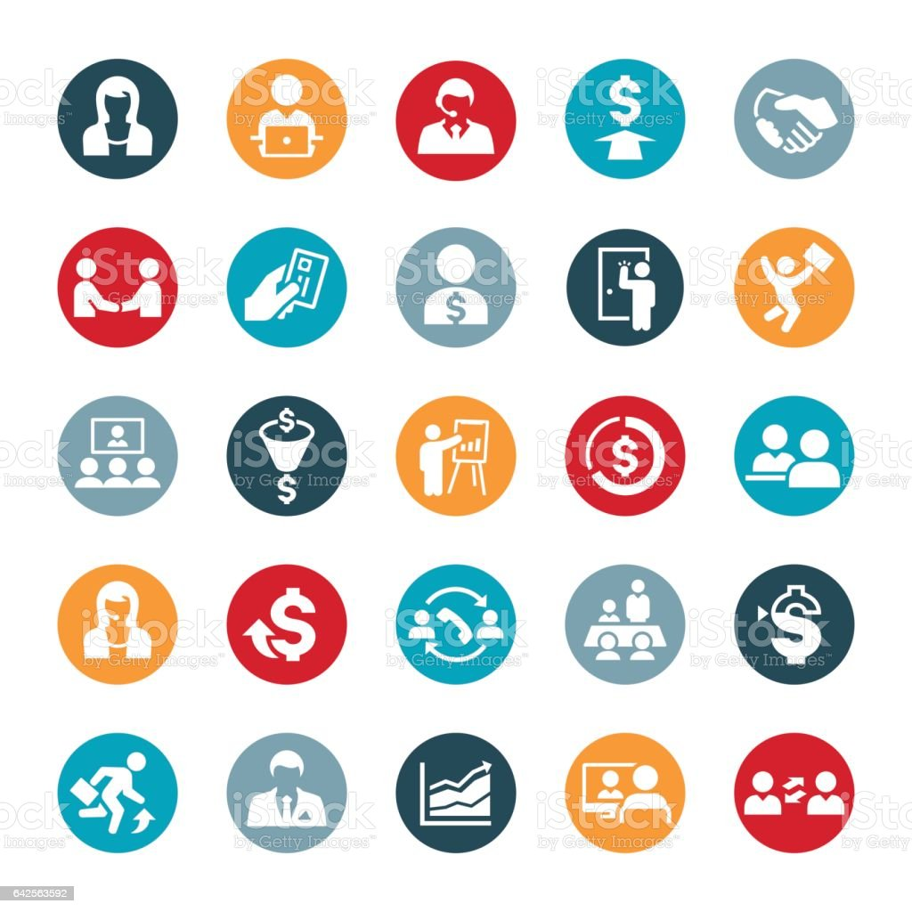 Sales Occupation Icons vector art illustration