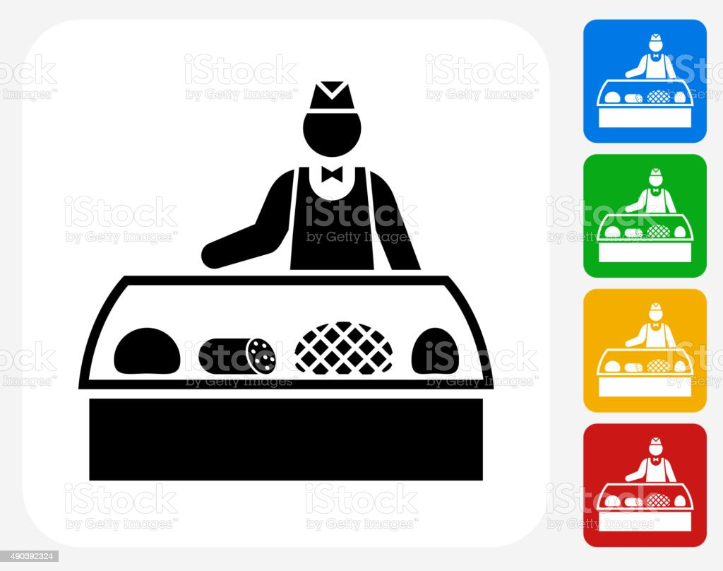 Sales Person and Cold Cuts Icon Flat Graphic Design vector art illustration