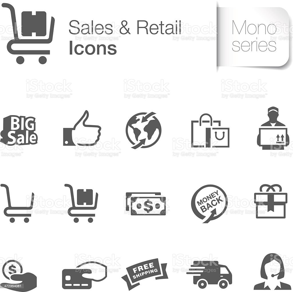 Sales & Retail Related Icons vector art illustration