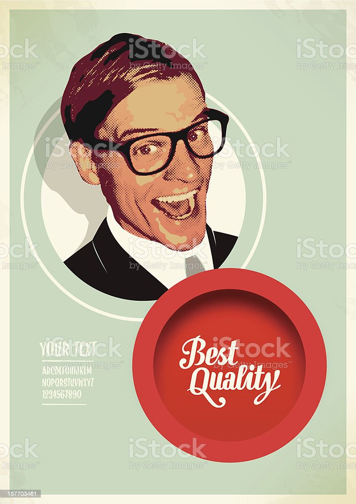 salesman quality label vector art illustration