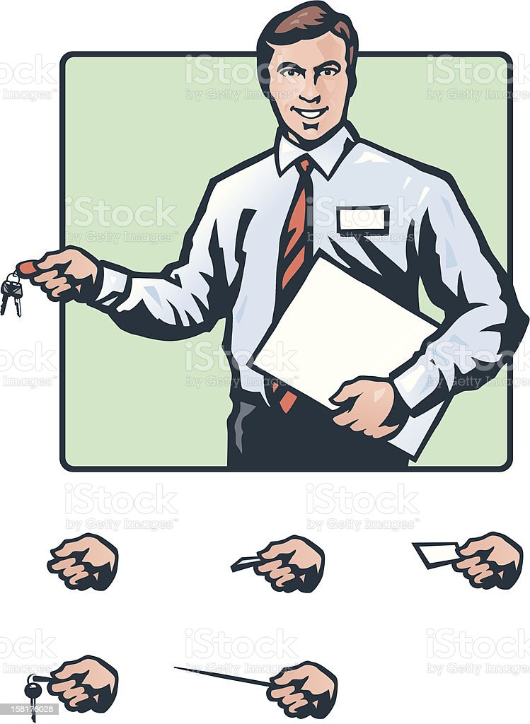Salesman with keys royalty-free stock vector art