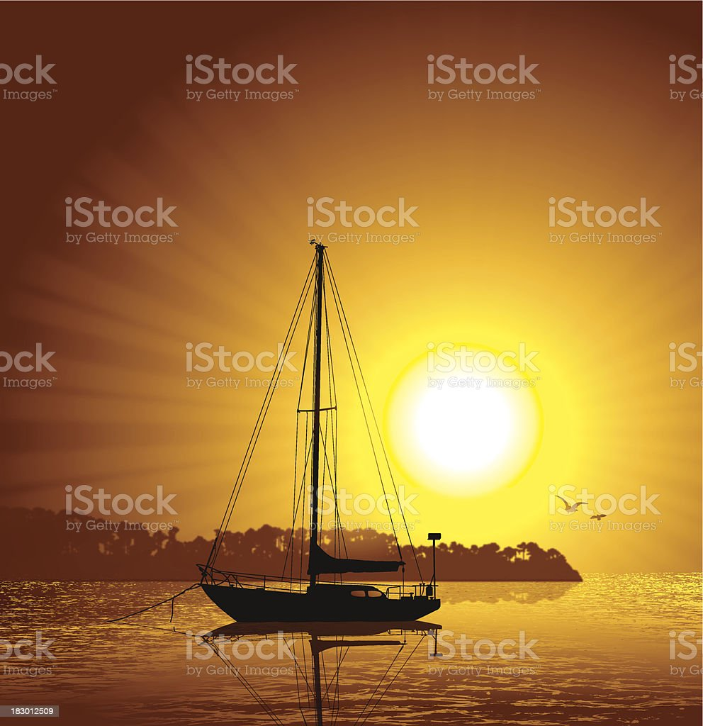 Saliboat at Sunset - Travel Background royalty-free stock vector art