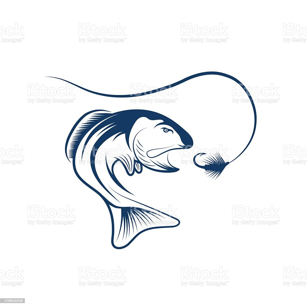 salmon and lure vector design template vector art illustration