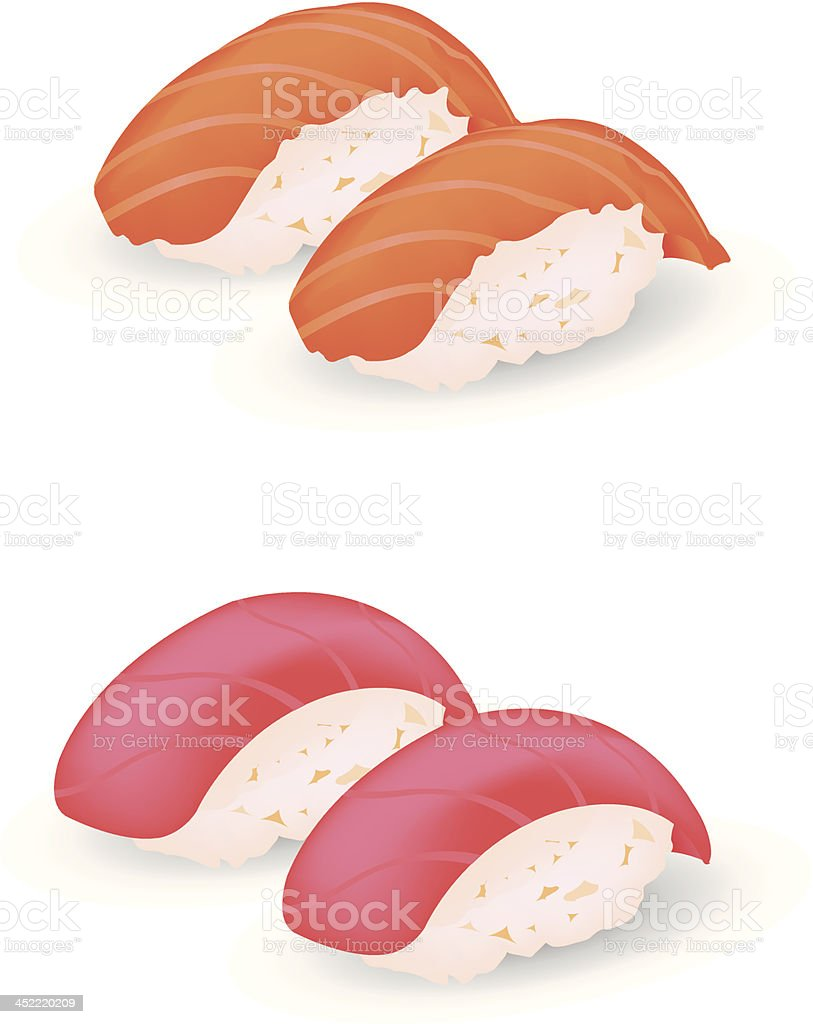 Salmon and Tuna sushi royalty-free stock vector art