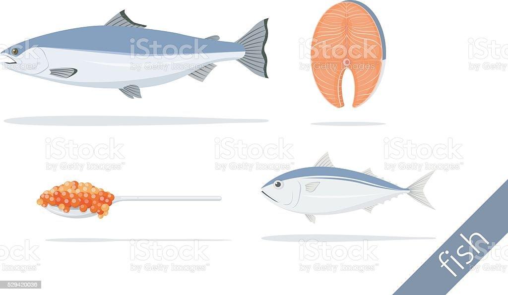 salmon fillet caviar and thai mackerel vector art illustration