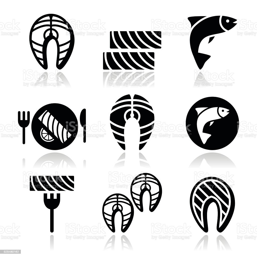 Salmon fish and meal - food icons set vector art illustration