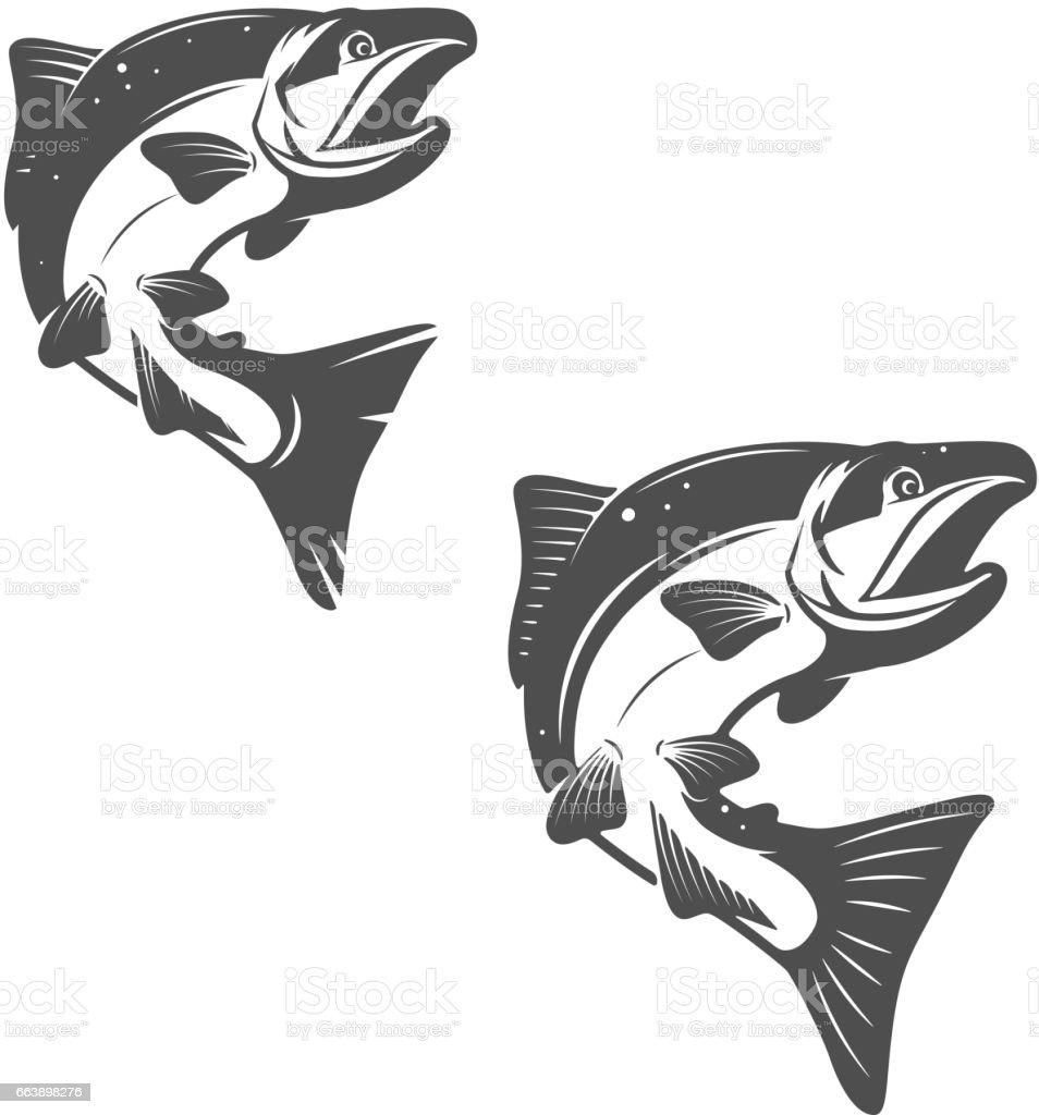 Salmon fish icons isolated on white background. vector art illustration