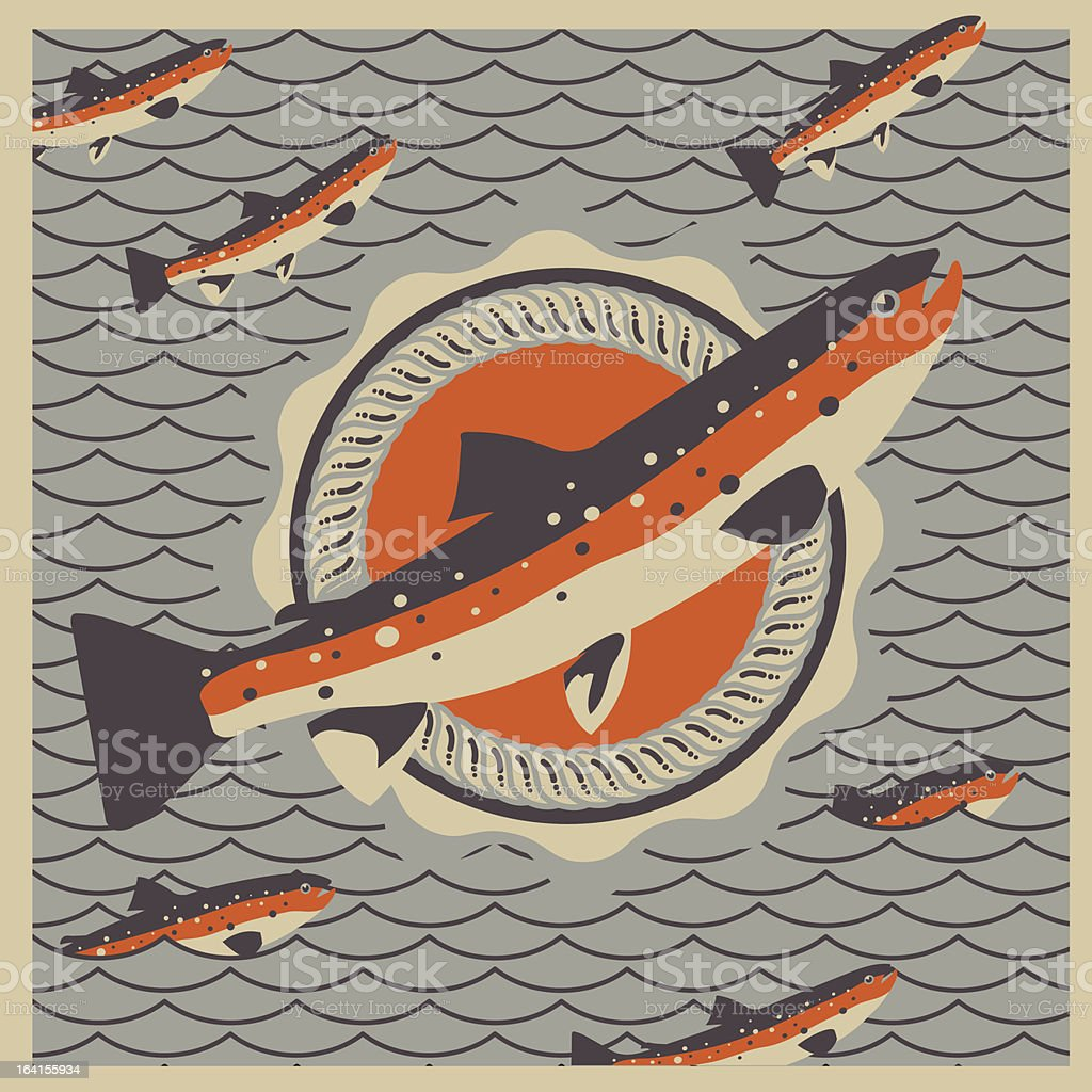 Salmon fish mascot in retro style background royalty-free stock vector art