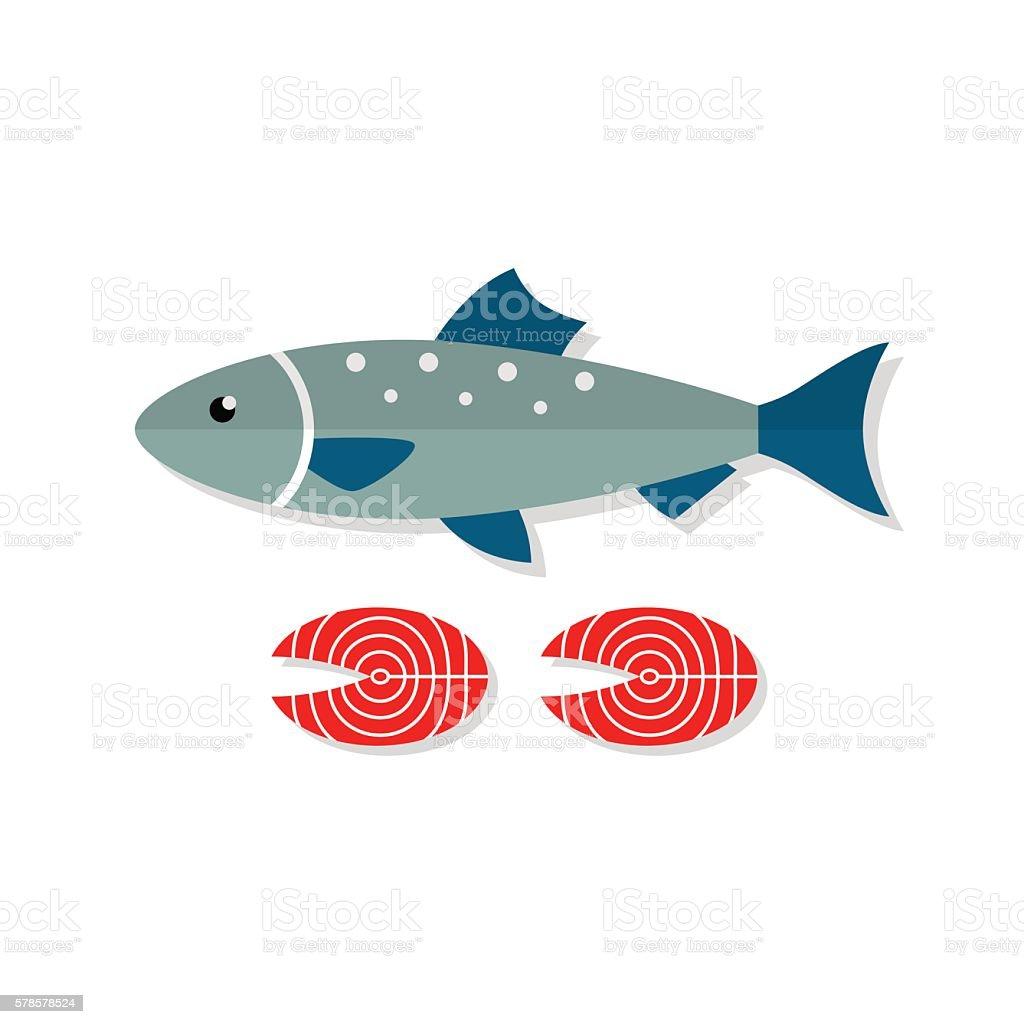 Salmon fish vector flat illustration vector art illustration