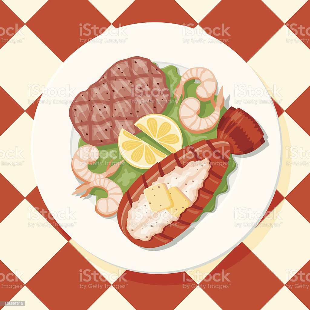 Salmon, Prawns and Lobster vector art illustration
