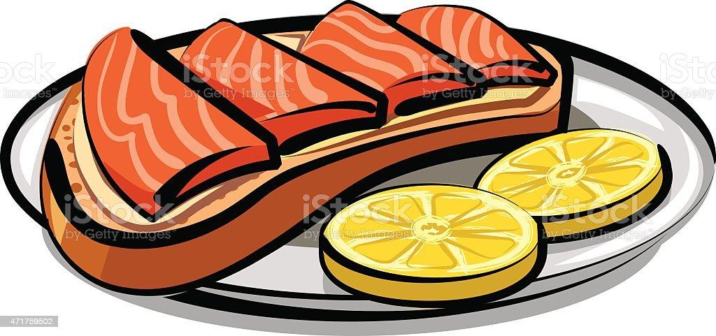 salmon sandwich vector art illustration