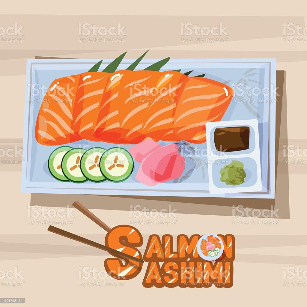 salmon sashimi in plate with sauce - vector vector art illustration