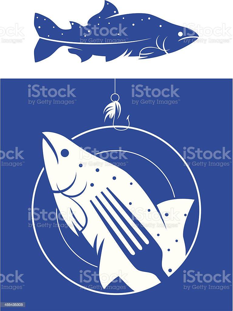 salmon silhouette vector art illustration