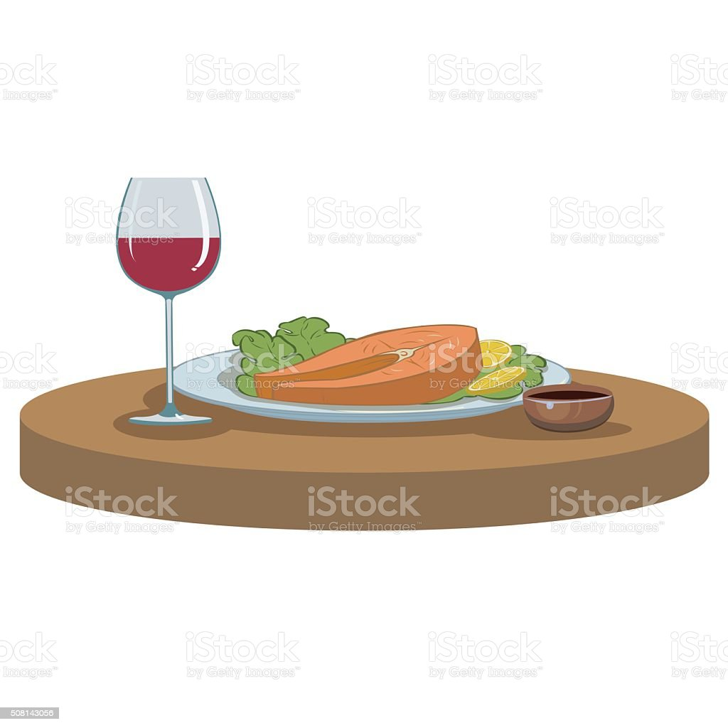 salmon steak and a glass of wine vector art illustration
