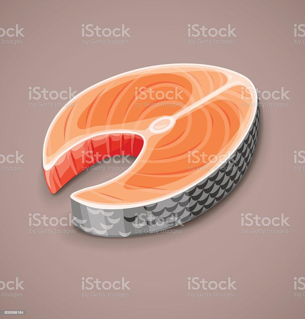 Salmon steak of red fish for sushi food vector art illustration