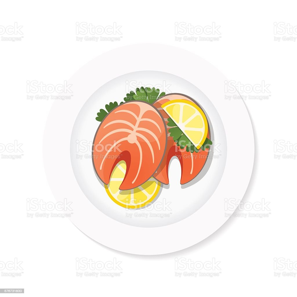 salmon steak on a plate vector art illustration