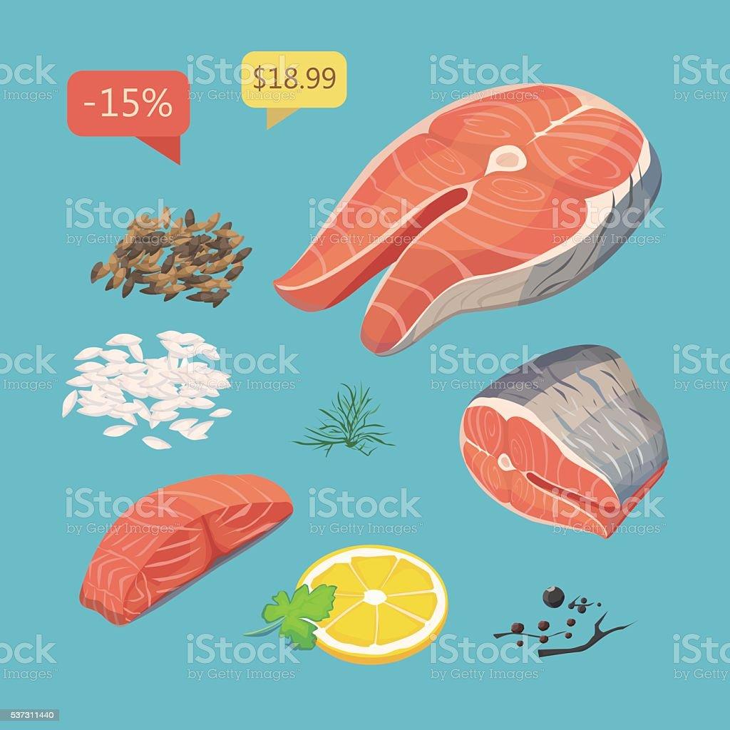 salmon steak. Seafood products set. vector art illustration