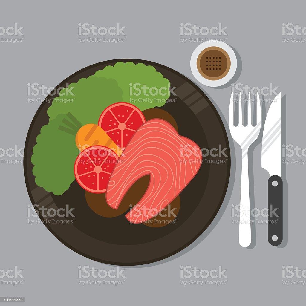 Salmon Steak vector art illustration
