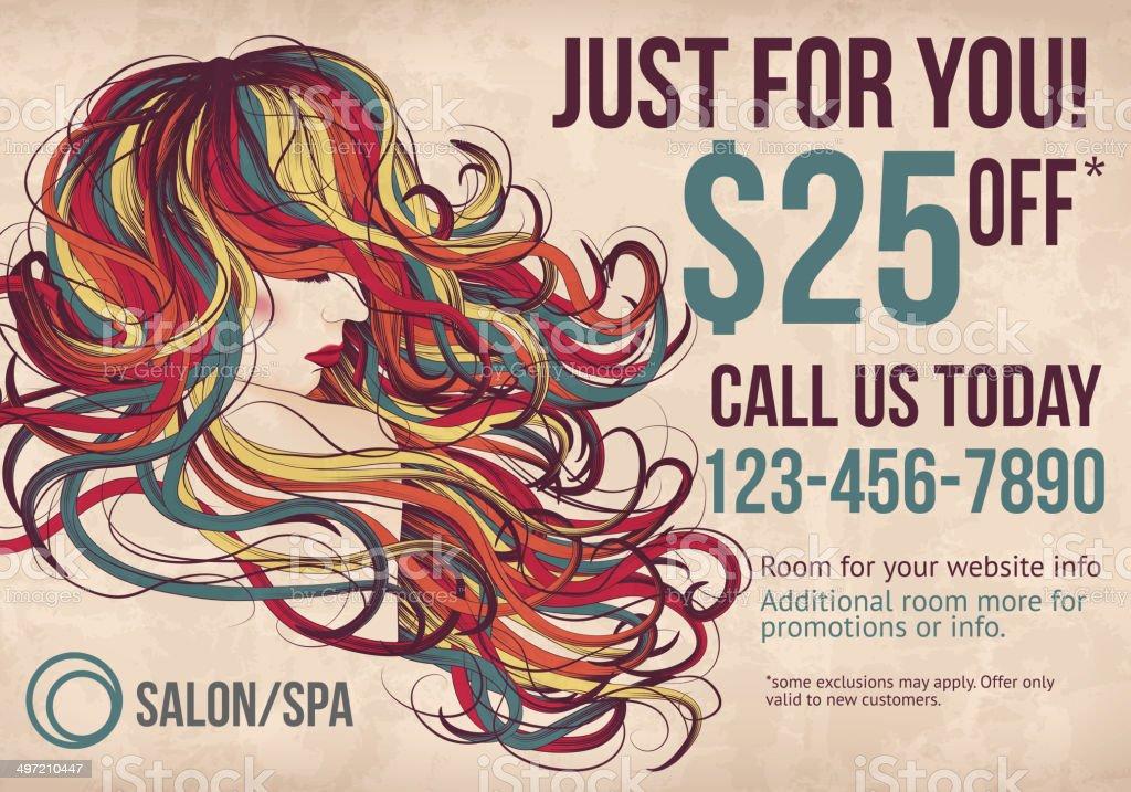 Salon postcard with coupon discount advertisement vector art illustration