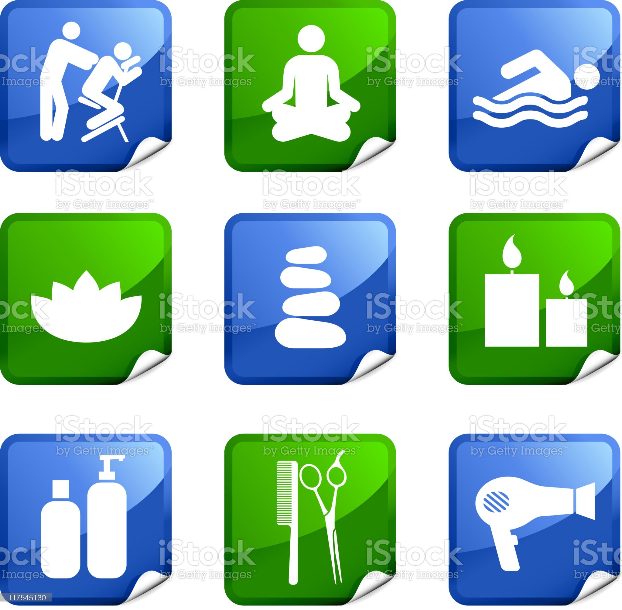 salon spa and relaxation nine royalty free vector icon set royalty-free stock vector art