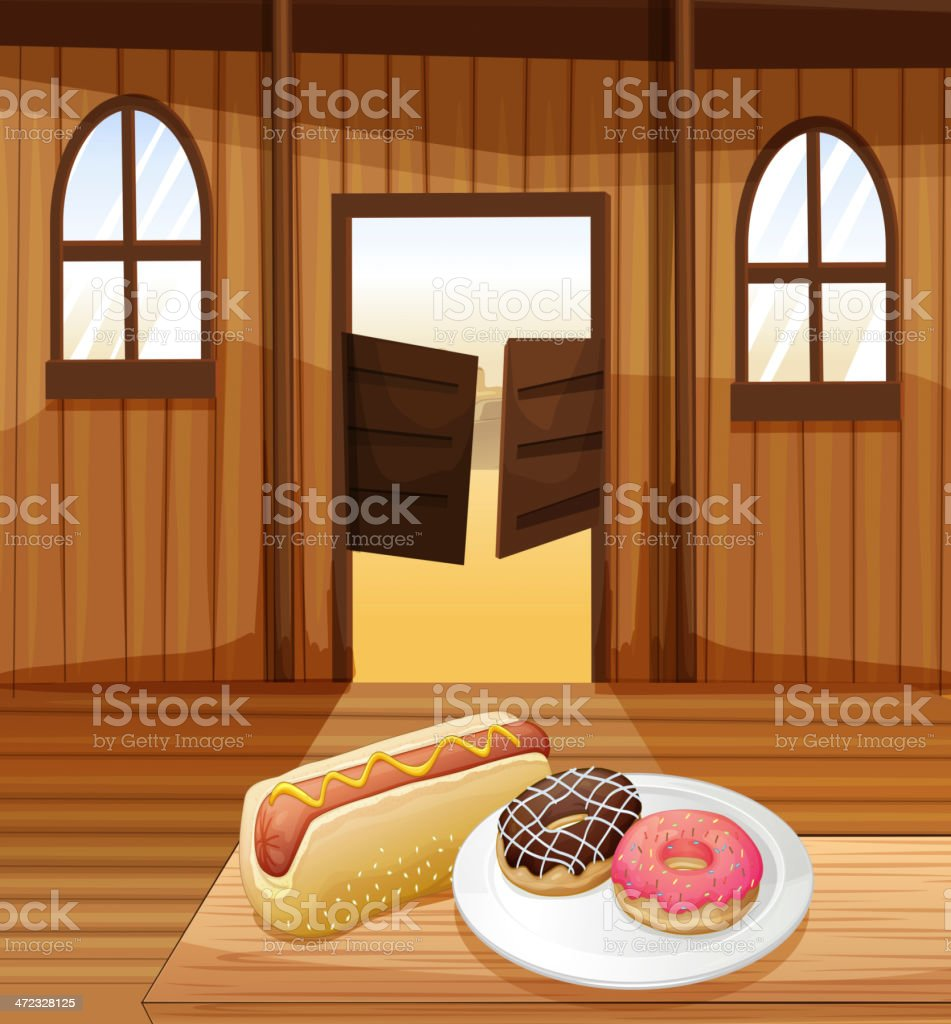 Saloon bar with foods in the table royalty-free stock vector art