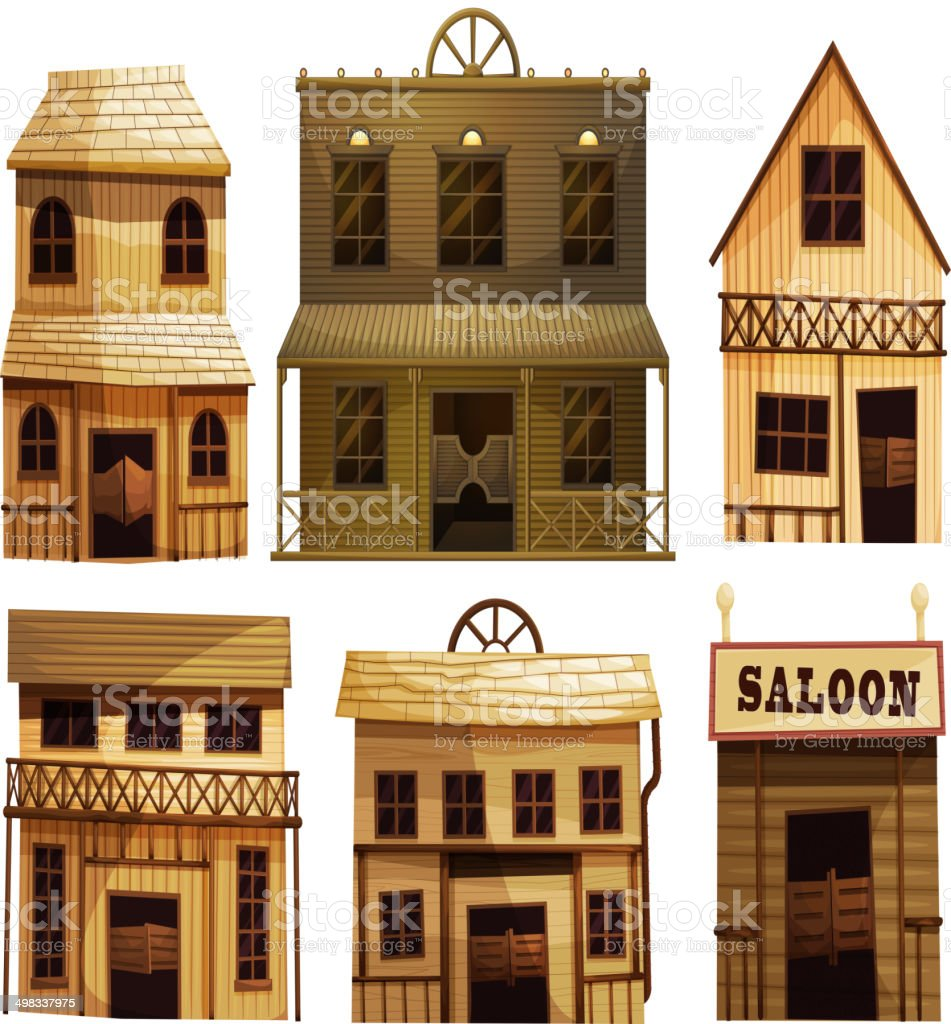 Saloon bars in the West vector art illustration