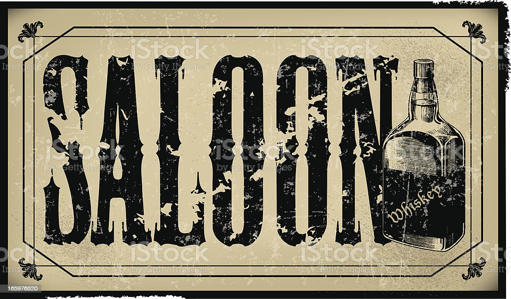 Saloon Sign with Whiskey Bottle - Retro royalty-free stock vector art