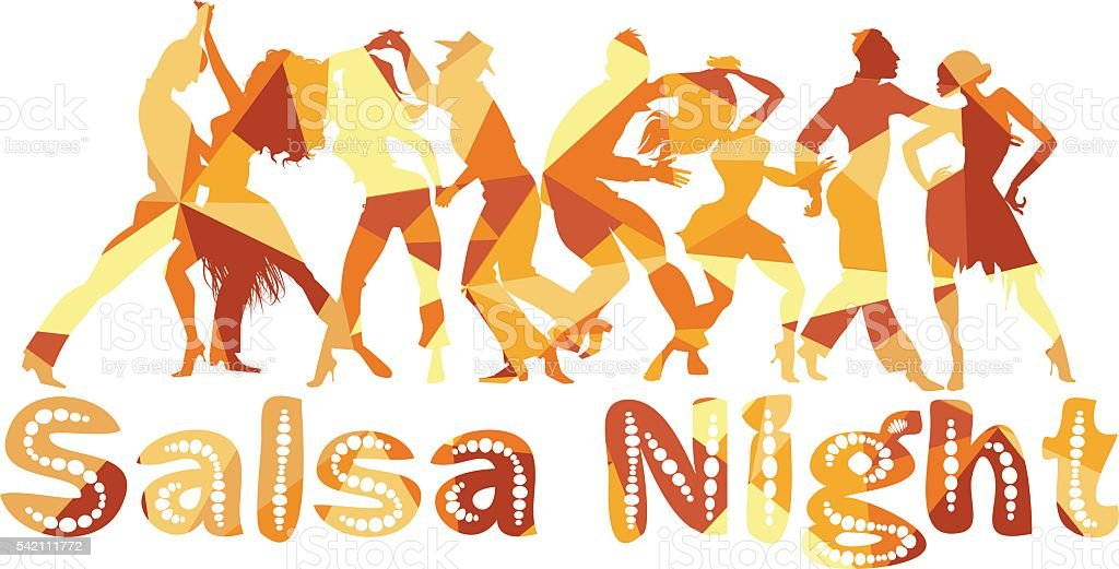 Salsa night vector art illustration