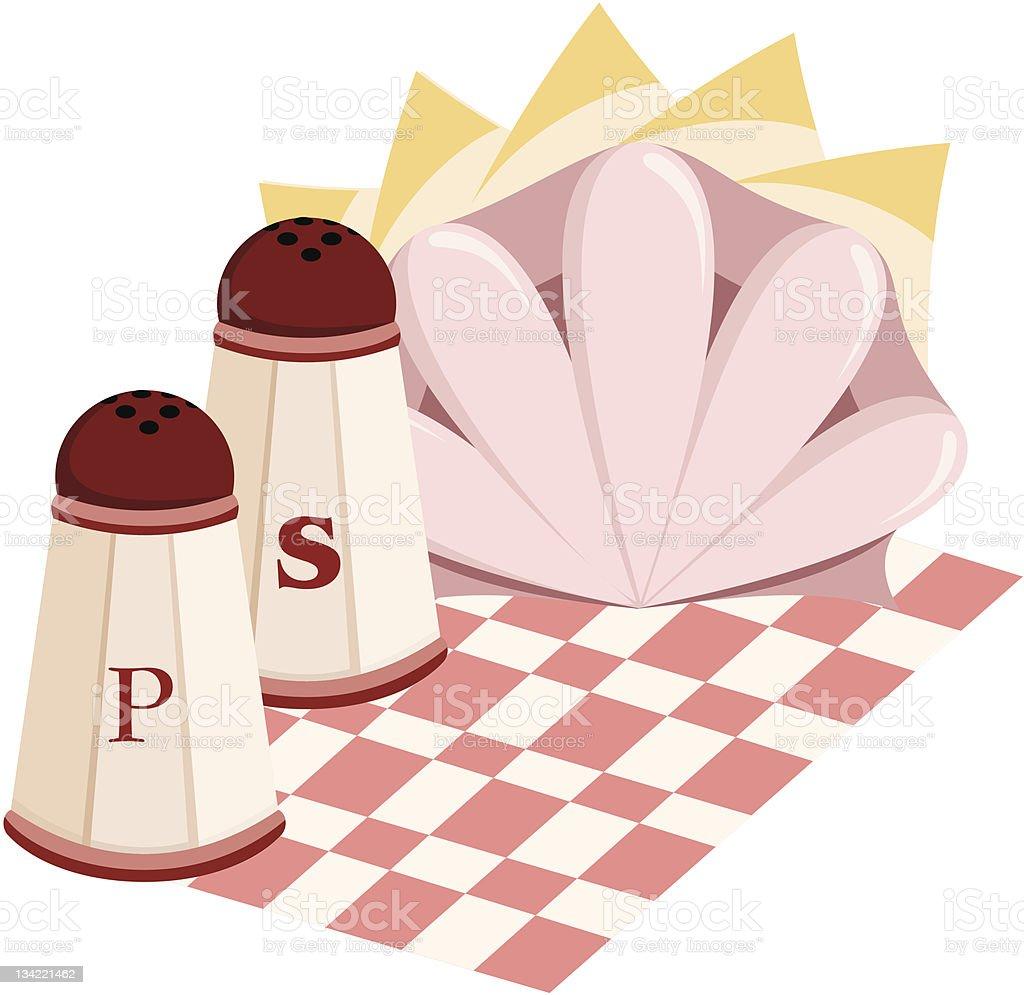 Salt and pepper set with napkins vector art illustration
