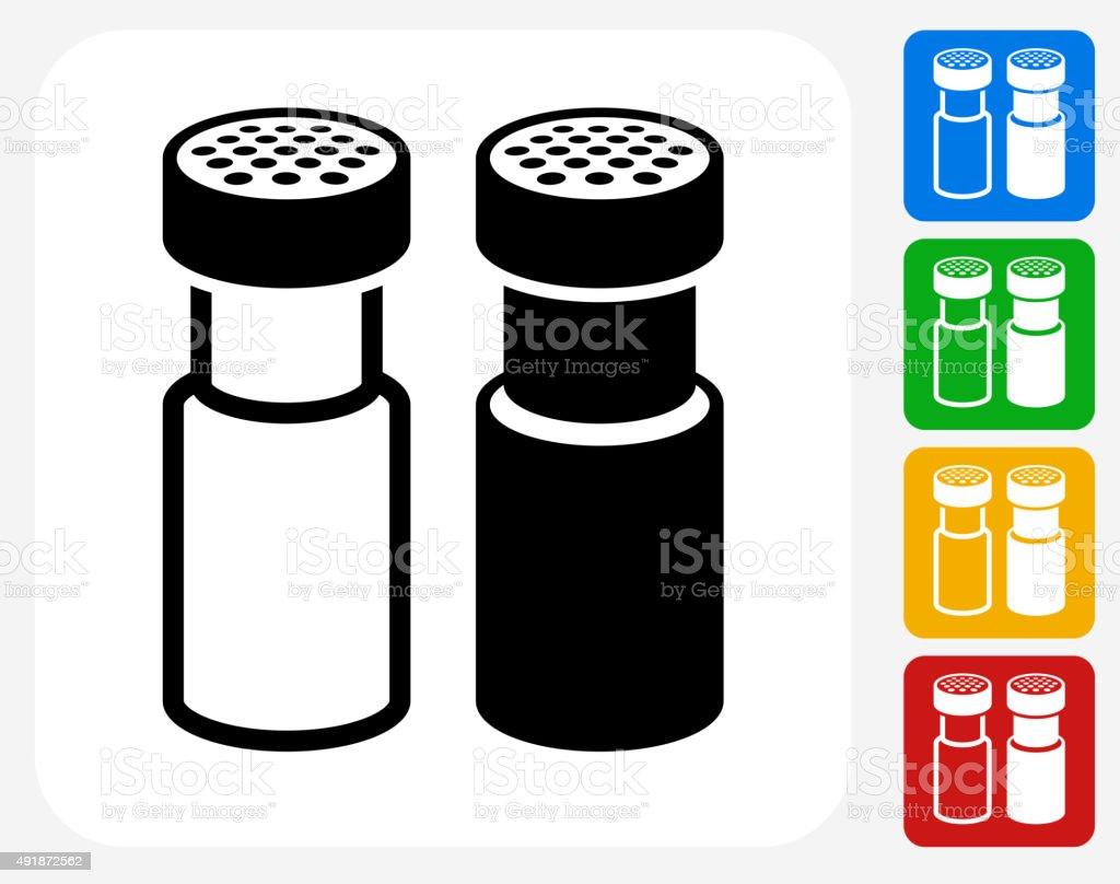 Salt and Pepper Shaker Icon Flat Graphic Design vector art illustration