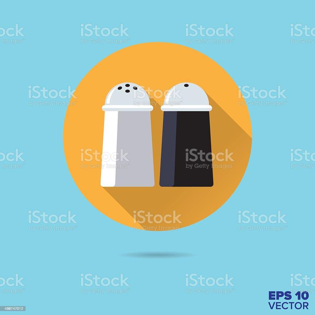 salt and pepper shakers flat design vector icon vector art illustration