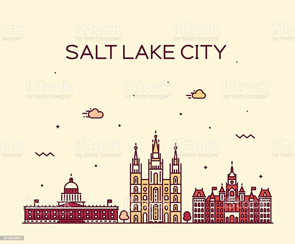 Salt Lake city skyline Utah vector linear style. vector art illustration