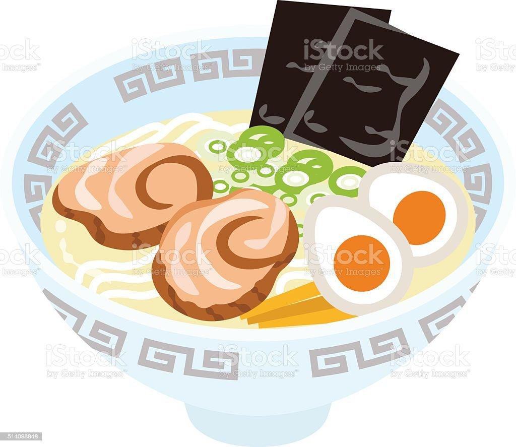 Salt Ramen Noodles vector art illustration