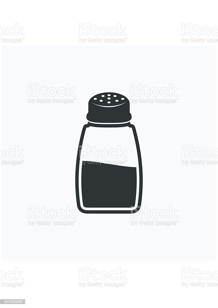 Salt shaker icon flat. Food seasoning. Kitchen utensils salt shaker. vector art illustration