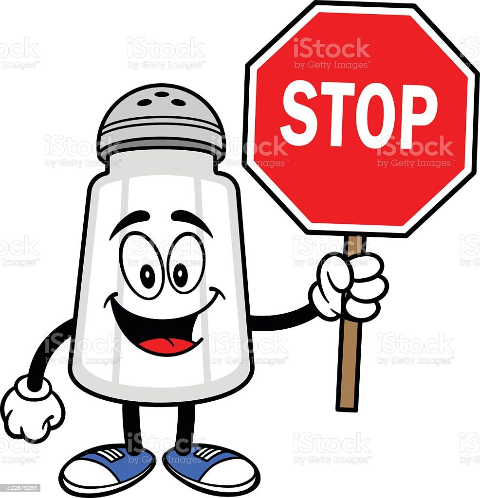 Salt Shaker with a Stop Sign vector art illustration