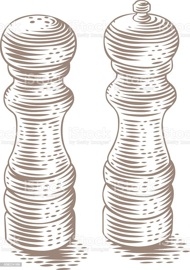 Saltshaker and peppermill vector art illustration