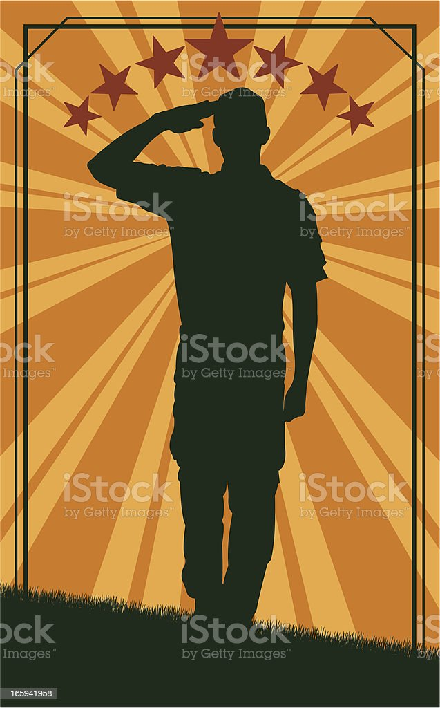 Salute - Military Soldier or Boy Scout Background royalty-free stock vector art
