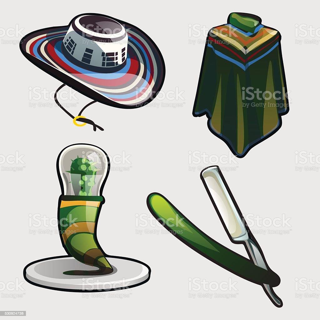 Sambrero, ponchos, and other symbols of Mexico vector art illustration