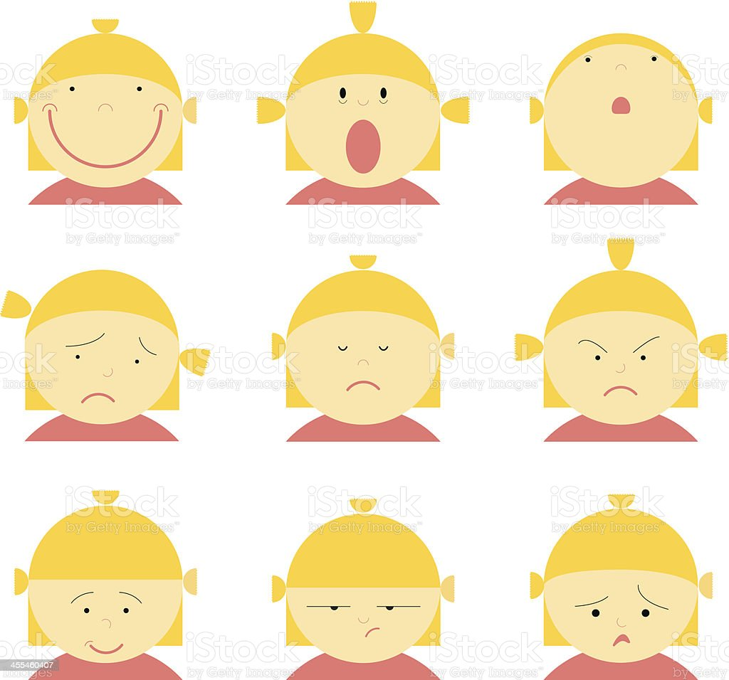 same girl, differents expressions royalty-free stock vector art