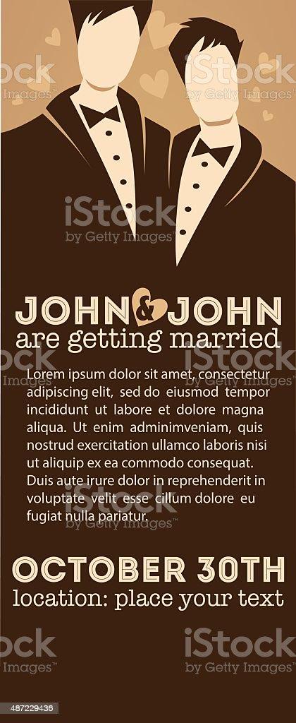 same sex male couple, wedding card in elegant style vector art illustration