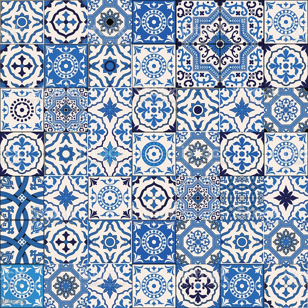 Samless  pattern from  Moroccan, Portuguese  tiles, Azulejo,  ornament. vector art illustration