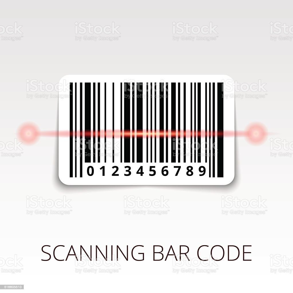 sample bar code ready to scan. with shadow sticker vector art illustration