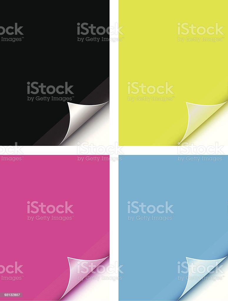 Sample color pages curled in the bottom right corner vector art illustration