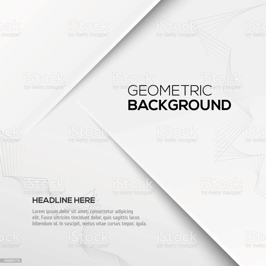 A sample layout for a geometric 3D background in gray vector art illustration