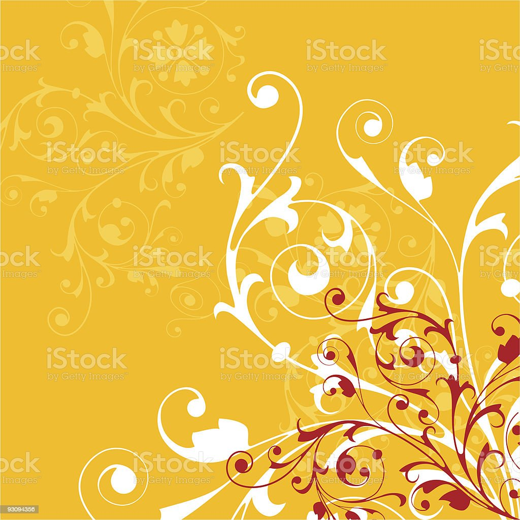 A sample layout of a floral background in yellow royalty-free stock vector art