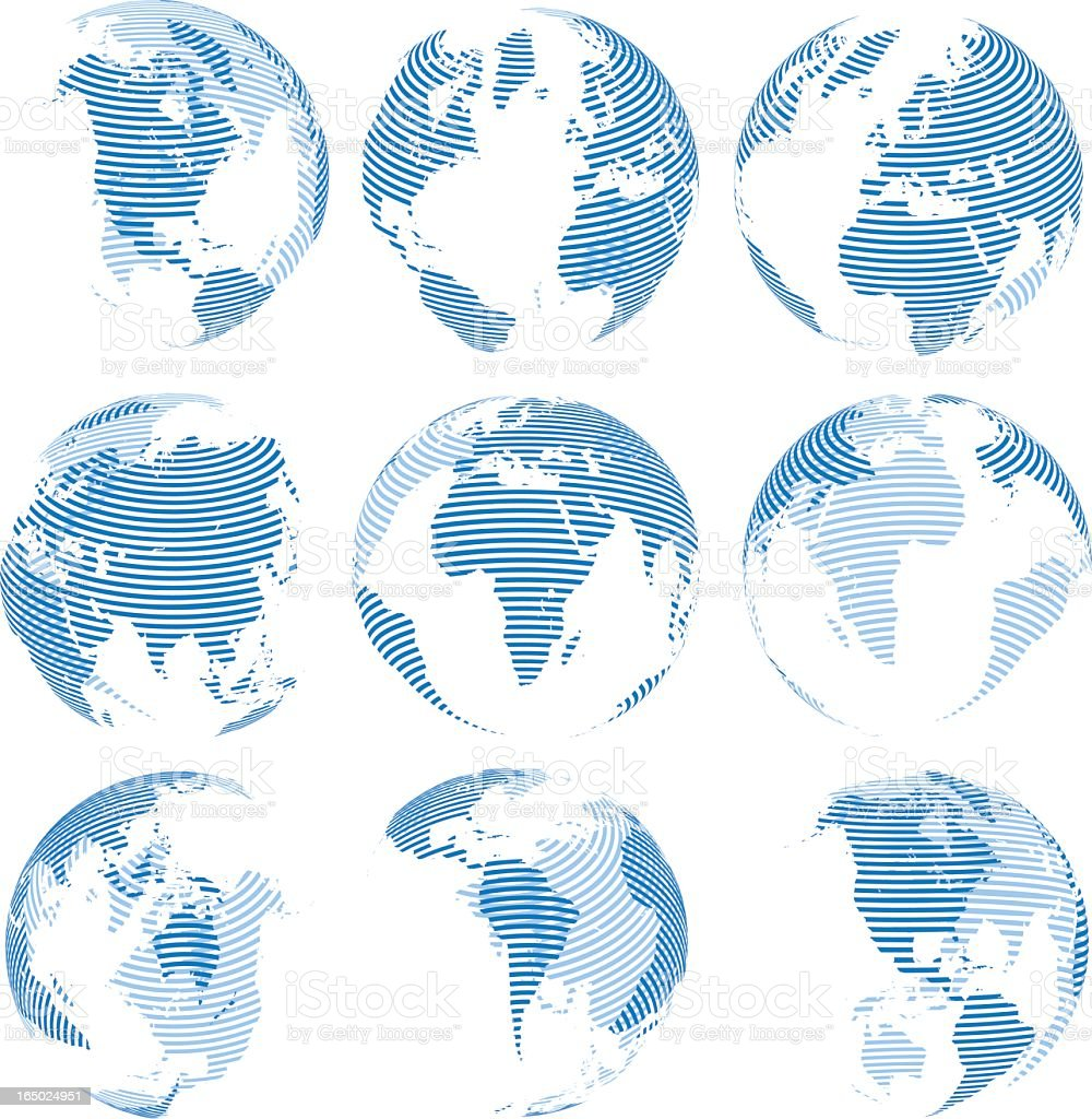 A sample layout of striped globes royalty-free stock vector art