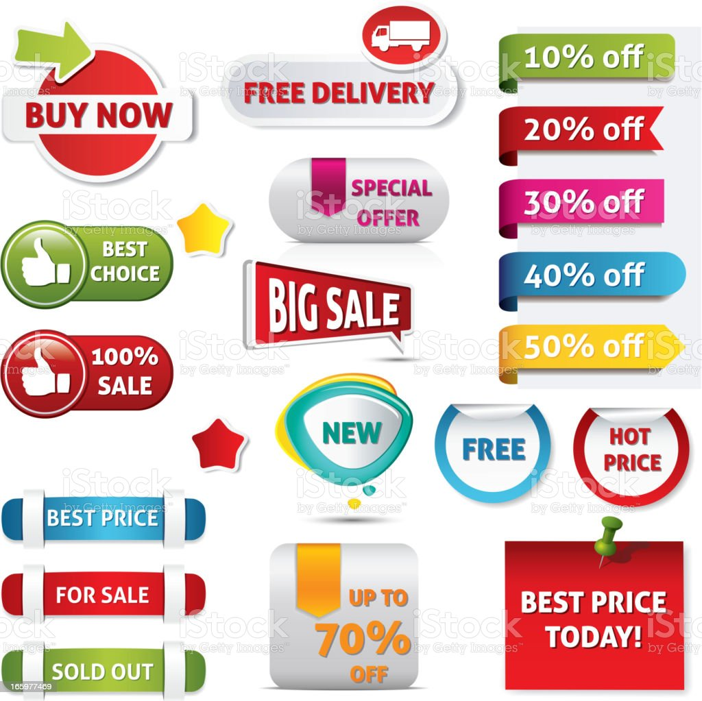 Sample of signs for pricing and sales royalty-free stock vector art
